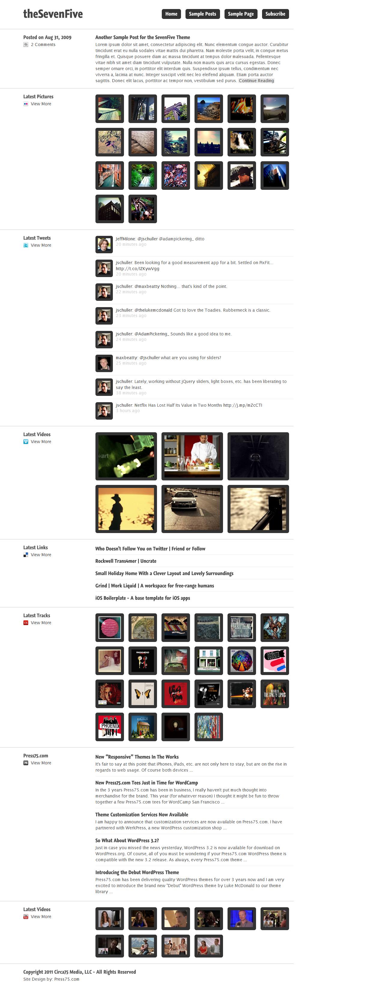 Wordpress Seven Five Theme